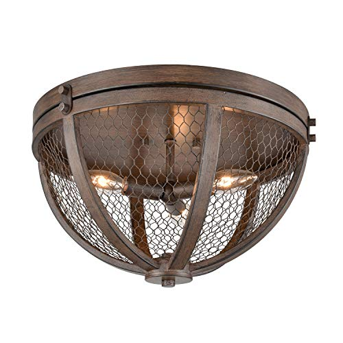- Danxu Lighting Vintage Flush Mount 3-Lights Wood Grain Metal Cage 3 Light Flush-mount Ceiling Light