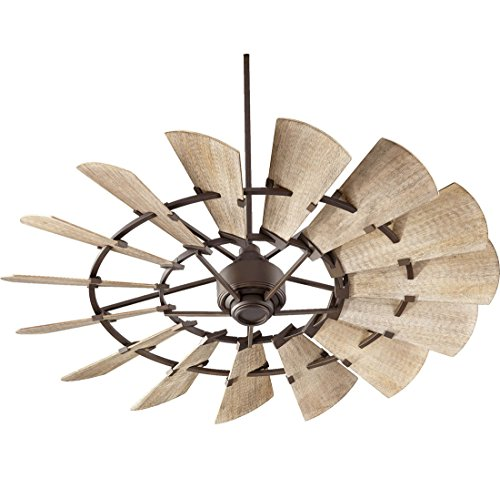 Quorum 96015-86 Windmill Ceiling Fan in Oiled Bronze with Weathered Oak Blades