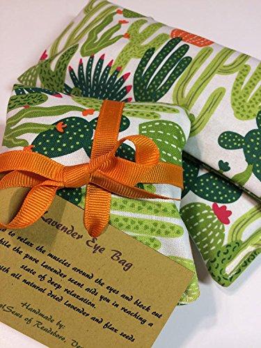 Aromatherapy Eye Pillow, Cactus Print Gift, Lavender Eye Bag, Sleep Mask, Yoga Eye Pillow, Lavender Eye Pillow, Meditation Eye Bag by CelestialSews
