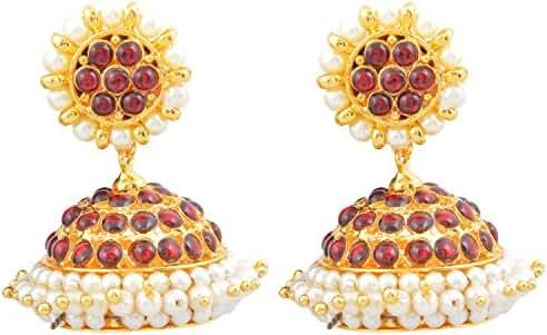 Khushi Purchase Women's Gold Finish Red Kempu Stones Jimiki/ Jhumki Red