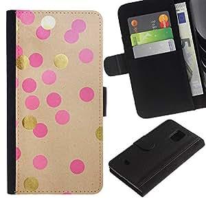 Paccase / Billetera de Cuero Caso del tirón Titular de la tarjeta Carcasa Funda para - Pink Paper Brown Polka Dot - Samsung Galaxy S5 Mini, SM-G800, NOT S5 REGULAR!