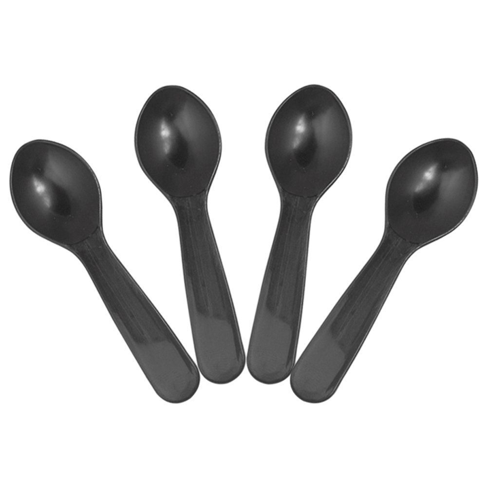 Black Mini Disposable Tasting Spoons - 3 Inch Plastic Sampling Spoons - Small Taster Spoons for Food, Ice Cream or Spices - Frozen Dessert Supplies - Beautiful Colors! 3,000 Count by Frozen Dessert Supplies