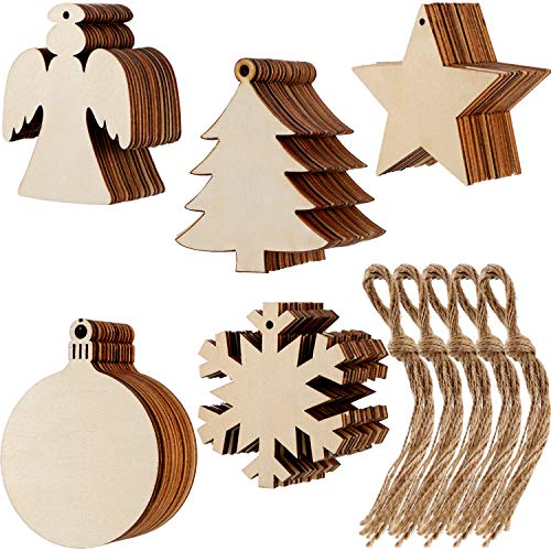 Tatuo 50 Pieces Christmas Wooden Ornaments Wood Snowflake Angel Star Christmas Tree Round Discs Decorations Hanging Embellishments with 50 Pieces Strings