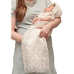 Aorme Ivory Lace Baby-Girls Christening Baptism Gowns Hat Trim Edge 9MIvory