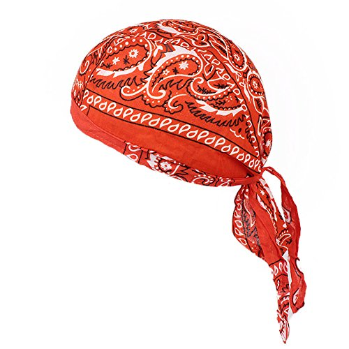 (Men Women Cotton Sweat Wicking Cap Beanie Helmet Liner for Cycling Adjustable Bandana Head Wrap Fits Chemotherapy Caps (Orange))