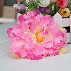 HZOnline Artificial Silk Peony Flower Heads, Fake Stemless Head Floral Bouquet for Crafts Wedding Wrist Flower Decoration DIY Making Beach Shoes Hair Clips Headbands Photography Props (10pcs Pink) 5