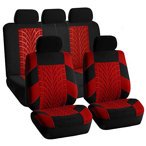 FH GROUP FH-FB071115 Complete Set Travel Master Seat Covers Airbag Ready & Rear Split Red / Black- Fit Most Car, Truck, Suv, or Van