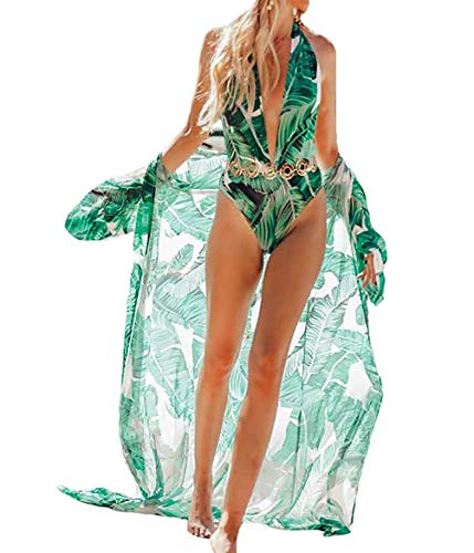 Women's Long Sheer Floral Kimono Cardigan, Chiffon Bikini Beach Cover up, Summer Blouse Loose Tops (A15-Banana Leaf - Tropical Up Cover