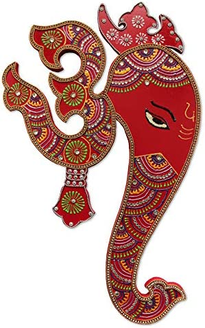 Ethnic Avenue Indian Wall Decor Artwork from India – Hindu God Ganesh with Om Wall Hanging Painting