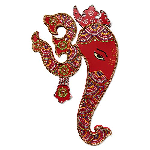 - Ethnic Avenue Indian Wall Decor Artwork from India - Hindu God Ganesh with Om Wall Hanging Painting