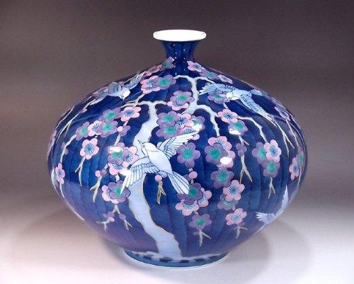 有田焼伊万里焼|花瓶陶器花器壺|贈答品|高級ギフト|記念品|贈り物|色鍋島雀梅藤井錦彩 B00HQXOKXW