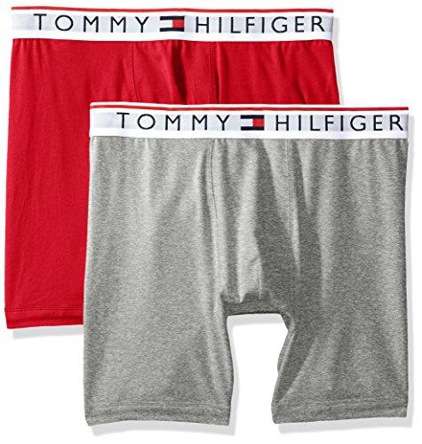 (Tommy Hilfiger Men's Underwear Modern Essentials Boxer Briefs, Mahogany/Grey Heather, Large)