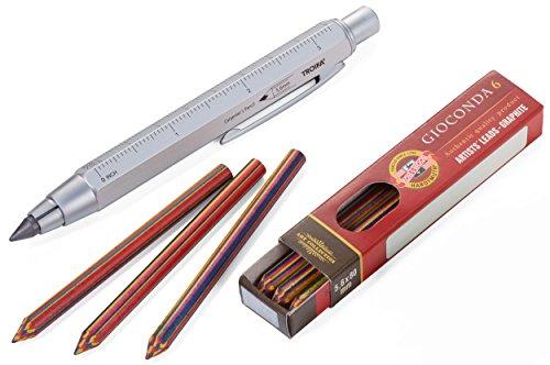 TROIKA ZIMMERMANN MAGIC MEHRFARBMINEN-STIFT - Zimmermannsbleistift inkl. 6 Mehrfarbminen (von KOH-I-NOOR) - ideal zum Malen, Trend: Ausmalbücher für Erwachsene - Fallminen-Stift (5,6 mm HB-Mine)