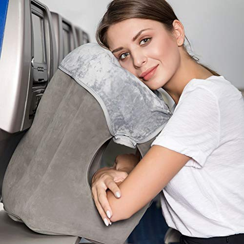 Inflatable Travel Pillow for Airplanes HAIYANLE Travel Neck Pillow Unfolding Used As Lumbar Support Pillow with Soft Cover Carrying Pouch Travel Accessories for Better Sleep on Journey (Gray)