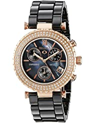 Precimax Womens PX13377 Lily Elite Crystal Analog Display Japanese Quartz Black Watch