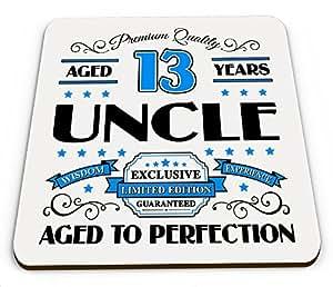 Premium calidad años 13años Uncle taza brillante posavasos–azul