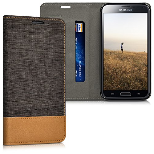 Neo Classic Business Card Book - kwmobile Book Style Case for Samsung Galaxy S5 / S5 Neo - PU Leather Fabric Protective Wallet Cover with Stand - Anthracite Brown