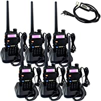 Retevis RT-5R 2 Way Radios 5W 128CH FM Dual Band Radio UHF/VHF 400-520/136-174MHZ Walkie Talkies(6 Pack) with Programming Cable