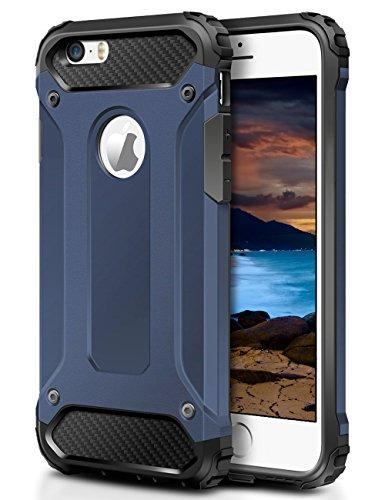 Slim Hybrid Armor Shell Case for Apple iPhone SE/5S/5 (Blue) - 1