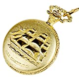 Vintage Golden Design Ship for Quartz Pocket Watch