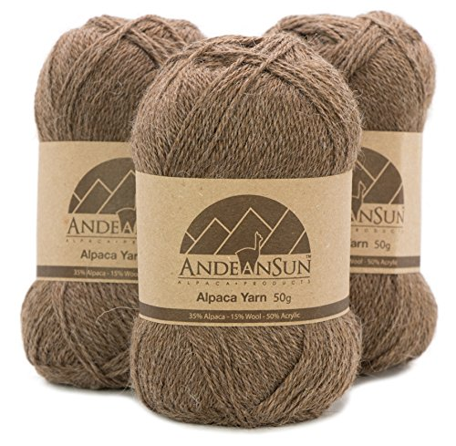 THIN Alpaca Yarn Blend FINGERING Weight Skeins - SET OF 3 SKEINS - 654 Yards Total - 150 Grams - 5.28 Ounces Total - Perfect for crocheting & knitting - HEATHER BROWN