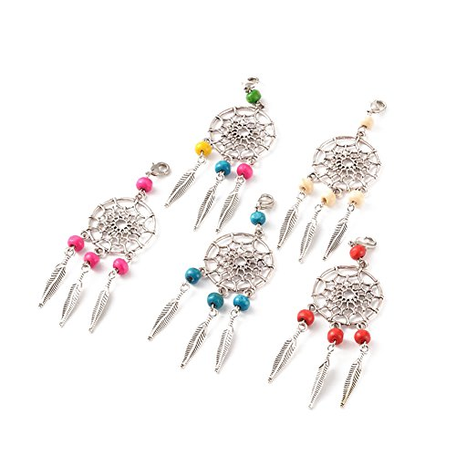 Kissity Handmade Dangling Dream Catcher Pendants Mixed Color 90mm Filigree Ethnic ornament Keyring Jewelry Making findings (Pack of 30Pcs)
