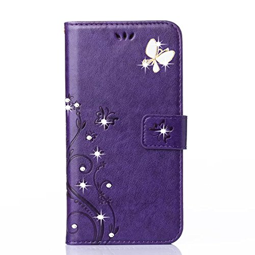 V20 Case,HAOTP(TM) Beauty Luxury 3D Fashion Handmade Bling Crystal Rhinestone Butterfly Fashion Floral PU Flip Stand Credit Card ID Holders Wallet Lea…