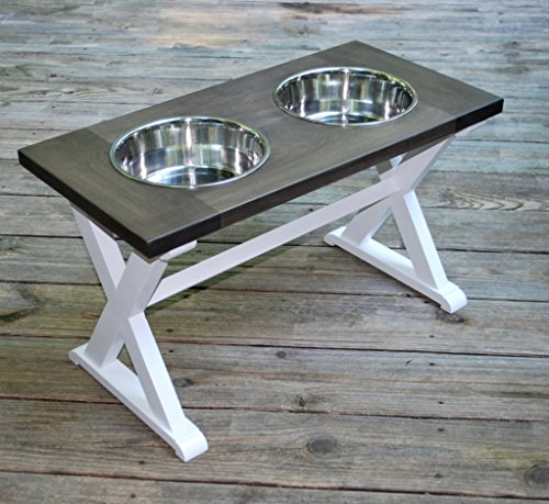 X-Large X Pattern Farmhouse Dog Bowl Stand by BillsCustomBuilds