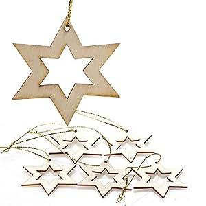 SSITG 5piezas–Adornos de Madera Árbol de Navidad decorativo colgador Navidad Estrellas