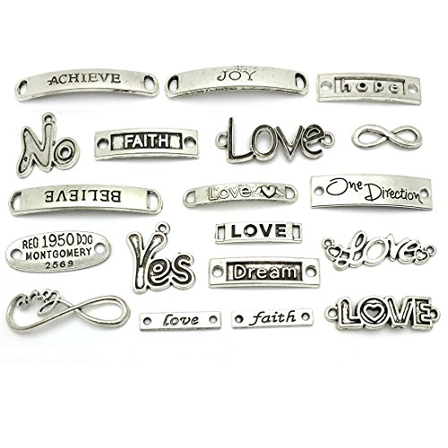 Inspirational Message Words Charm Pendants, JIALEEY Wholesale Bulk Lots Craft Supplies Mixed Beads Charms Pendants for Necklace Bracelet Jewelry Making and Crafting(Silver) from JIALEEY