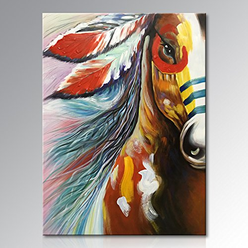 Winpeak Art Hand Painted Canvas Wall Art Abstract Horse Oil painting Modern Contemporary Decorative Artwork Framed Ready to Hang (30''W x 40''H) by Winpeak Art