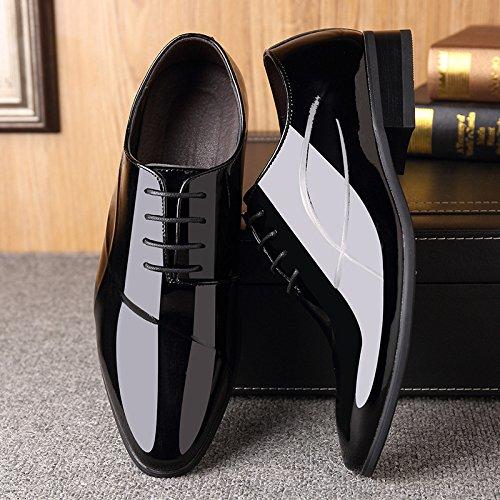 LEDLFIE Printemps des Hommes Robe en Cuir Chaussures Robe D'affaires des Hommes Chaussures en Cuir Brillant Respirant Chaussures De Mariage Pointues Black gT17VT
