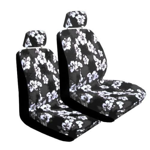 Set Of 2 Universal Fit Hawaiian Low Back Front Bucket Seat Cover With Separate Headrest
