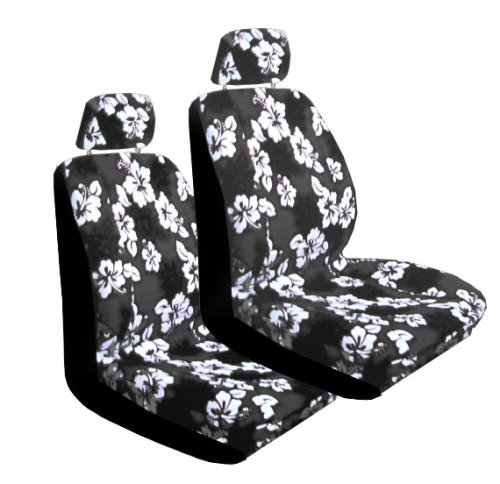 Set of 2 Universal Fit Hawaiian Low Back Front Bucket Seat Cover With Separate Headrest Cover for Seats - Charcoal Hawaii Hibiscus Floral ()