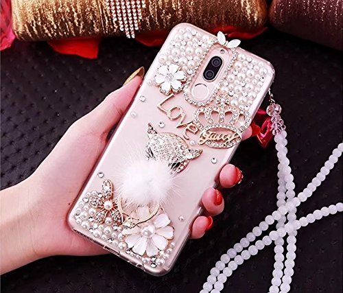 Galaxy S9 Plus Case for Girls,Galaxy S9 Plus Glitter Case[with Kickstand/Lanyard],Fox Head Ring Holder Crown Flower Pearl Bling Diamond Crystal Rhinestone Phone Case Cover,NO1 ()
