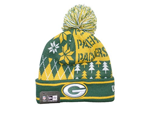 Green Bay Packers Boxed Link Ugly Sweater Cuffed Knit Pom