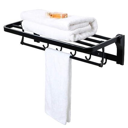 SAYAYO Toallero plegable para toallas con 1 barra para toallas y 5 ganchos Toallero móvil montado