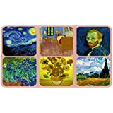Coasters - Set of 6 Assorted Images by Van Gogh, Cork Backed, hardboard