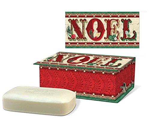 Holiday Cranberry Punch - Punch Studio Scented Soap in Embellished Keepsake Rectangular Holiday Music Box - Vintage Noel