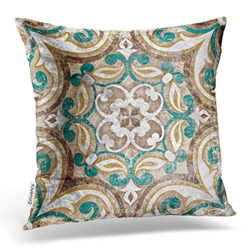 Emvency Decorative Throw Pillow Cover Case for Bedroom Couch Sofa Home Decor Vintage Italian Tile with Moroccan Pattern Square 16x16 Inches Moroccan (Target Teal Bedding)