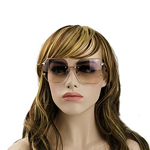 MINCL/2016 HOT RIMLESS SUNGLASSES WOMAN CLEAR LENS (gold, - Women Eyewear Fashion For