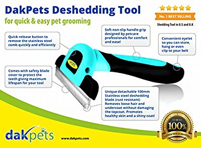 Pet Grooming Tool & Pet Grooming Brush- NO.1 BEST SELLER For Small, Medium & Large Dogs + Cats, With Short to Long Hair. Dramatically Reduces Shedding In Minutes GUARANTEED