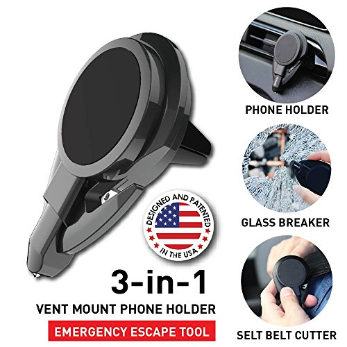 Ztylus Stinger Car Emergency Escape Tool: Multi function Life-Saving Vehicle Rescue, Magnetic Vent Mount Phone Holder, Spring Loaded Window Breaker Punch, Seat belt Cutter, Designed in USA (Black)