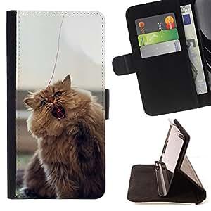 - CUTE FURRY FLUFFY CAT - - Prima caja de la PU billetera de cuero con ranuras para tarjetas, efectivo desmontable correa para l Funny HouseFOR HTC DESIRE 816