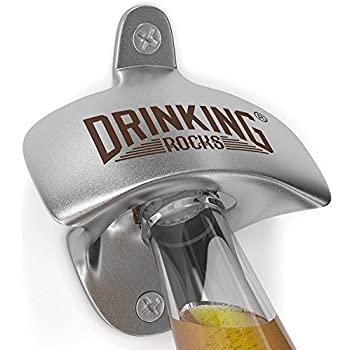 Wall Mounted Bottle Opener - Pop Your Beer Cap Like A Bartender - Heavy Duty Cast Iron Bar Mountable Bottle Top Opener - Easily Enjoy Your Favorite Beverage Indoors Or Outdoors - Screws Included