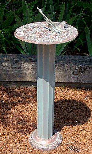 Whitehall Frog Sundial & Roman Pedestal Package, Copper Verdi BestNest 00493-KIT