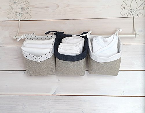 Nursery Organizer baby crib organizer fabric Baskets with tying laces - white navy blue by Pockets Baby & kids