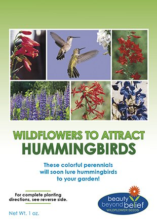 Hummingbird Nectar Wildflower Seeds Bulk + 8 BONUS Gardening eBooks + Open-Pollinated Wildflower Seed Mix Packet, Non-GMO, NO FILLERS, Annual, Perennial Wildflower Seeds Year Round Planting - 1 (Hummingbird Garden Plants)