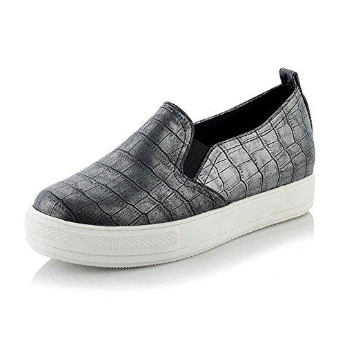 Summerwhisper Kvinna Tillfällig Elastisk Låg Topp Loafers Plattform Slip På Plana Sneakers Grå