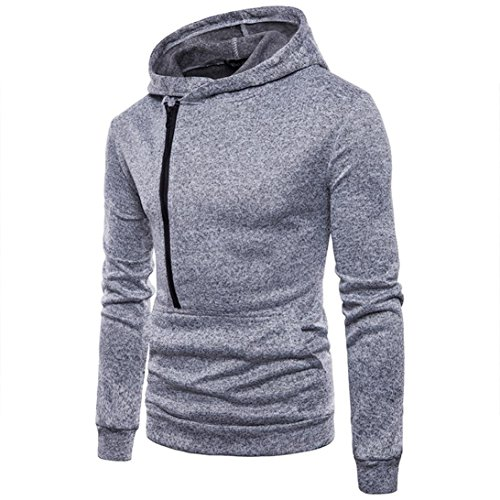 vermers Hot Sale Men's Casual Long Sleeve Zipper Hoodie Sweatshirt - Mens Fashion Personality Hooded Outwear Tops(2XL, Gray) ()